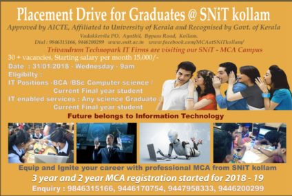 Placement drive for graduates at SNiT Kollam.