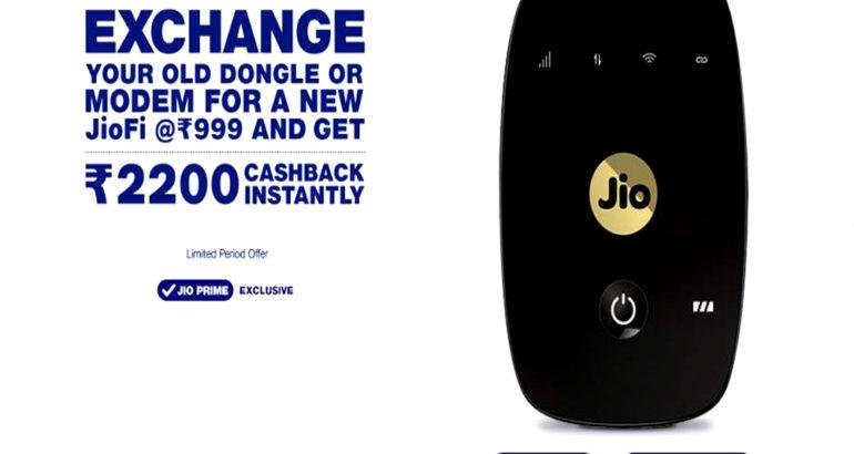 JioFi Dongle or Modem Exchange offer @ 999