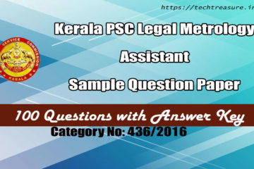 Kerala PSC Legal Metrology Assistant Sample Question Paper