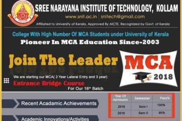 SNiT, Kollam:  free MCA Entrance Coaching
