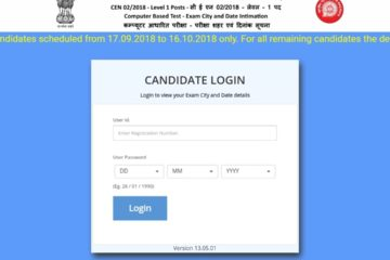 RRB Recruitment CEN-02/2018 Hallticket Released