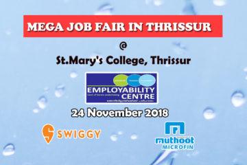 Mega Job Fair in Thrissure on 24 November 2018