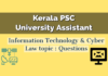 Kerala PSC University Assistant : Information Technology & Cyber Law topic.