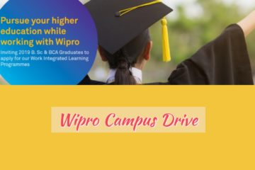WIPRO DRIVE For 2019 BCA and BSC (CS, MATHS, PHYSICS, STATISTICS, ELECTRONICS) Passed Out Students