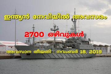 2700 Vacancies in Indian Navy: Apply now