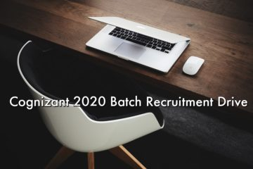 Cognizant 2020 Batch Campus Hiring Graduate Trainee & Programmer 