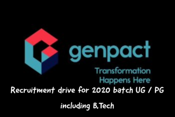 Genpact recruitment drive for 2020 batch all UG students including B.Tech