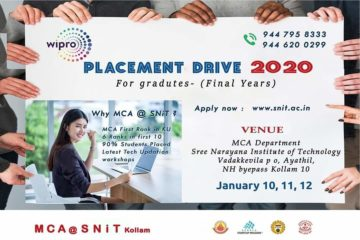 Wipro Placement Drive at Snit, Kollam