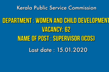 KPSC invite Application for the post of Supervisor (ICDS).