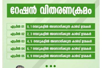 റേഷൻ വിതരണ ക്രമം : Kerala Government