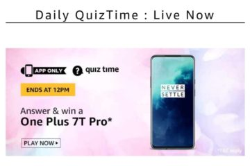 Amazon Quiz Time Answers-15th March 2020