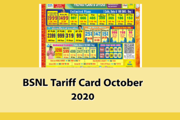 BSNL Tariff Card October 2020